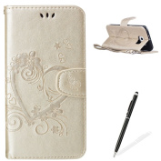 Feeltech Samsung Galaxy S6 Flip case, Luxury Embossed Heart Butterfly Series Design Pattern Premium Ultra Slim PU Leather Wallet Cover [With Free Stylus Pen] Magnetic Clasp Closure Soft TPU Inner Bumper Built-in Foldable Stand Function Pocket Card Slot ..