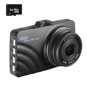 OldShark Dash Cam with 8GB SD Card, 1080P Full HD Car Camera Dashboard Video Recorder 4-Lane Wide-Angle View Lens with Night Vision, G-Sensor, Loop Recording, Motion Detection, Parking Monitor