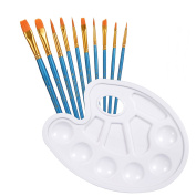 10pcs Acrylic Oil Paint Brushes With A Paint Palette Tray, Usparkle Art Supplies Kids Art Set With Round Flat Angle Filbert Fan Points For Craft Face Body Art Painting