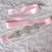 Girl's BlingBling Wedding Gown Sash and Belt for Party Prom Evening Gown,Pink