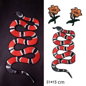 Snake flower Embroidered Applique Patch Vintage Animal Patch T-shirt Jeans Decoration Patch DIY Garment Accessories