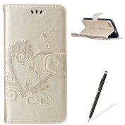Feeltech HUAWEI P8 Lite Flip case, Luxury Embossed Heart Butterfly Series Design Pattern Premium Ultra Slim PU Leather Wallet Cover [With Free Stylus Pen] Magnetic Clasp Closure Soft TPU Inner Bumper Built-in Foldable Stand Function Pocket Card Slots I ..