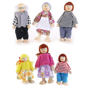 QianSheng 6 PCS Wooden Doll Family Happy Doll Figures Including Grandparents Doll Toys House Set for Kids Fun Role Playing