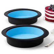 Pack of 2 Big Round Cake Pie Tart Black and Blue Silicone Mould Pans - Thick Silicone