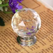 Revesun 6PCS/LOT Diameter 40mm Crystal Glass Door Knobs Cabinet Pulls Cupboard Handles Drawer Knobs Wardrobe Home Hardware