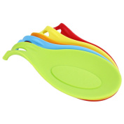 Kitchen Utensil Tool Heat Resistant Spoon Fork Silicone Mat Rest Spatula Holder(Colour