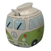 Ceramic Camper Sugar Dispenser Split Screen Camper Van Sugar Bowl with Lid & Spoon Green Colour