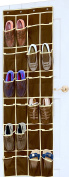 SimpleHouseware 24 Pockets Over the Door Hanging Shoe Organiser, Brown