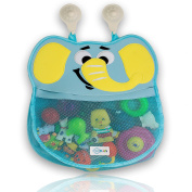 """""""Victor the Elephant"""" Bath Caddy by GSAKids Child's Cute Blue Pachyderm Tub Toy Organiser Pouch Plus 2 Strong-Hooked Suction Cups Durable, Mould Resistant, Washable Mesh Bath Toy Storage Holder"""