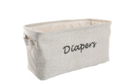 Dejaroo Baby Nappy Storage Bin - Nursery Organiser Caddy - Embroidered Eco-friendly Grey Linen