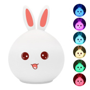 Children Night Light Lamp Silicone Touch Sensor LED lamps Colour Changing Breathing Light Bunny Rabbit Easter Gift for Bedside Baby Nursery Lamp, Romantic Atmosphere Decor by MakeTheOne