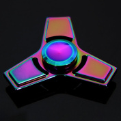 Anself Tri Fidget Spinners Hand Finger Spin Toy, Metal Aluminium Alloy 608 Bearing Rainbow Colour