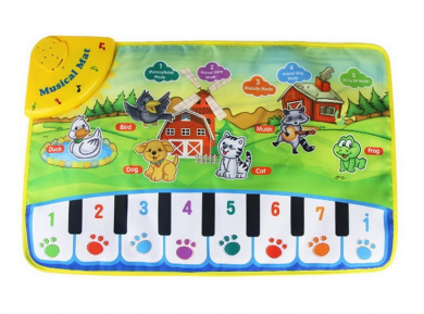 Durable and Foldable Piano Mat, 8 piano Functional Keys and 5 Animal Sounds and Pronunciation, Play and Record, For Kids 3+, Dance and Learn