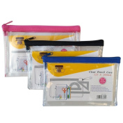 Ark Pencil Case PVC Coloured Zip 200x125mm Clear Assorted Blue/ Pink / Black