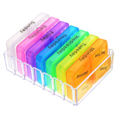 Mudder Pill Box 7 Day Medicine Case Organiser with 28 Compartments