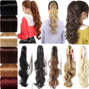 """Womens Ladies 18""""(46cm) Curly Wrap Around Ponytail Clip in on Hair Extension Synthetic Hairpiece"""