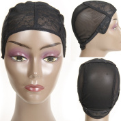 Black Double Lace Wig Caps for Making Wigs with Adjustable Straps Combs Elastic Net Sew on Hair Wefts for Black Women 1piece only