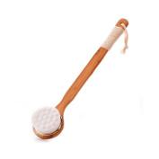Huluwa Bath Brush Soft Bristle Body Brush with Long Bamboo Handle Non-slip Shower Brush Back Scrubber, High Density Brushes Deep Clean No Hurt, White