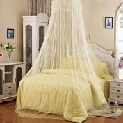 Gemini_mall® Beige Lace Bed Canopy Mosquito Net Dome Fly Insect Net Protection