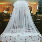 Gemini_mall® White Lace Bed Canopy Mosquito Net Dome Fly Insect Net Protection