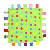 Almondcy Baby Tag, Taggy Blanket - Green with Multi-Coloured Point - with Plain Orange Textured Underside