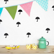 DIY Small Umbrella Wall Sticker Decal for Children Nursery Room - Black