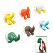 PsmGoods 6xFashion Animal Tail Rubber Sucker Hook Towel/Coat/key Hanger Holder