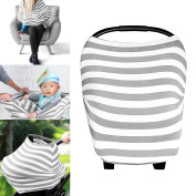 PPOGOO Baby Car Seat Covers Canopy and Nursing Cover Multi-Use Stretchy Unisex Baby Shower Gift Cotton Muslin Fits Standard Newborn Carseats