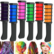 Richoose Disposable Instant Hair Colour Chalk Comb Hair dye Long Lasting Temporary Shimmer Hair Colour Cream for Party Fans Cosplay DIY 6PCS