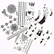 Henna Tattoo (6 Sheets) Body Paints Temporary Tattoo Designs Feathers/Mandala/Cats/Lotus/Bracelet/Elephant/Birds and more