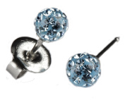 Silver Ear Piercing Earrings Studs 4.5mm Fireball Aqua Crystal Studex System 75 Hypoallergenic