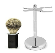 BREETO 100% SILVERTIP BADGER MEN'S SHAVING BRUSH and STAND - Hand Crafted To Provide Smoothest and Cleanest Shave