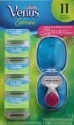 Gillette Venus Embrace Replacement Blades - 11 Cartridges plus a bonus mini Travel Shaver with case