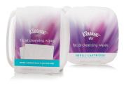 Kleenex Moist Facial Cleansing Wipes, Refillable Dispenser & Refill Cartridge, 50 Total Wipes