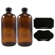 470ml Amber Glass Bottle with Reusable Chalk Labels and Lids (2 Pack), Refillable Glass Bottles, with Black Screw On Lid