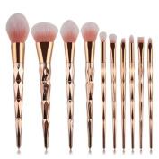 Coshine 10pcs Unicorn Shiny Gold Makeup Brush Set Professional Foundation Powder Cream Blush Brush Kits