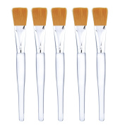 Mudder Facial Mask Brush Makeup Brushes Cosmetic Tools with Clear Plastic Handle, 5 Pack
