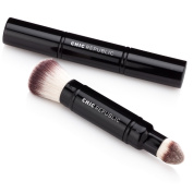 Premium Double Ended Complexion Kabuki Makeup Brush - Synthetic Vegan Cruelty Free Bristles - For Powder Cream and Liquid Make Up