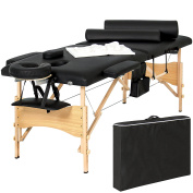 Best Choice Products Portable 210cm Folding Massage Table Bed Set With Cover- Black