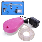 AMPERSAND SHOPS Airbrush Kit Set Mini Air Compressor 0.35 mm Nozzle Dual Action Trigger Control