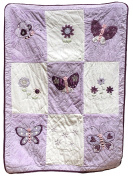 Luxurious Baby Girl Blankets, Super Soft, Patchwork Style, with Applique, Velvet and Faux Fur, 100% Cotton, Purple Butterfly Kisses Theme, 36X 50