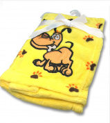 NaXY Flannel Baby Blankets for Girls Boys Yellow Lucky Dog