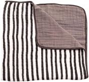 Little Unicorn Cotton Muslin Blanket Quilt - Ink Stripe, Black, White