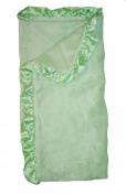 My Blankee Solid Sage Green Velour with Bubble Satin Border Baby Blanket