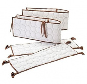 Quilted White with Brown Circles Bacati Cotton (Bumper Only) Baby Bedding Decor