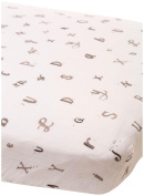 Little Unicorn Cotton Muslin Fitted Sheet - Hello Alphabet, Black, White