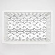 Carousel Designs Cloud Grey Arrow Mini Crib Sheet 13cm -15cm Depth - Organic 100% Cotton Fitted Mini Crib Sheet - Made in the USA