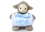 Smiling Softly Lovely Lamb Hugging Blue Cosy Fleece Nursery Blanket 100cm x 70cm