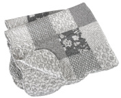 Stephan Baby Reversible Pieced Florals & Dots Crib Quilt with Scalloped Hem, Grey and White