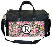 Florals on Leopard Print Customizable Nappy Bag